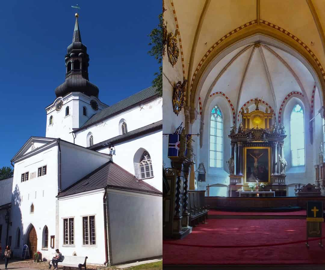 The spire and interior of St Mary's church in Tallinn, Estonia.