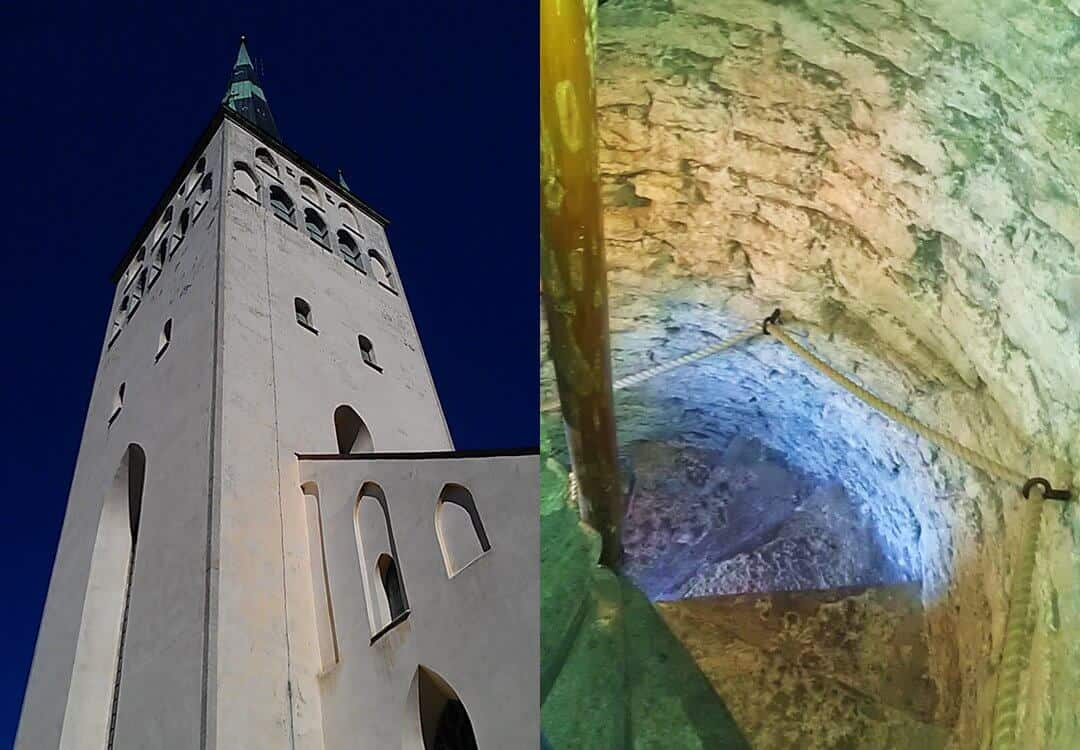 The spire of St Olaf's Church in Tallinn, and the interior staircase leading to the top.