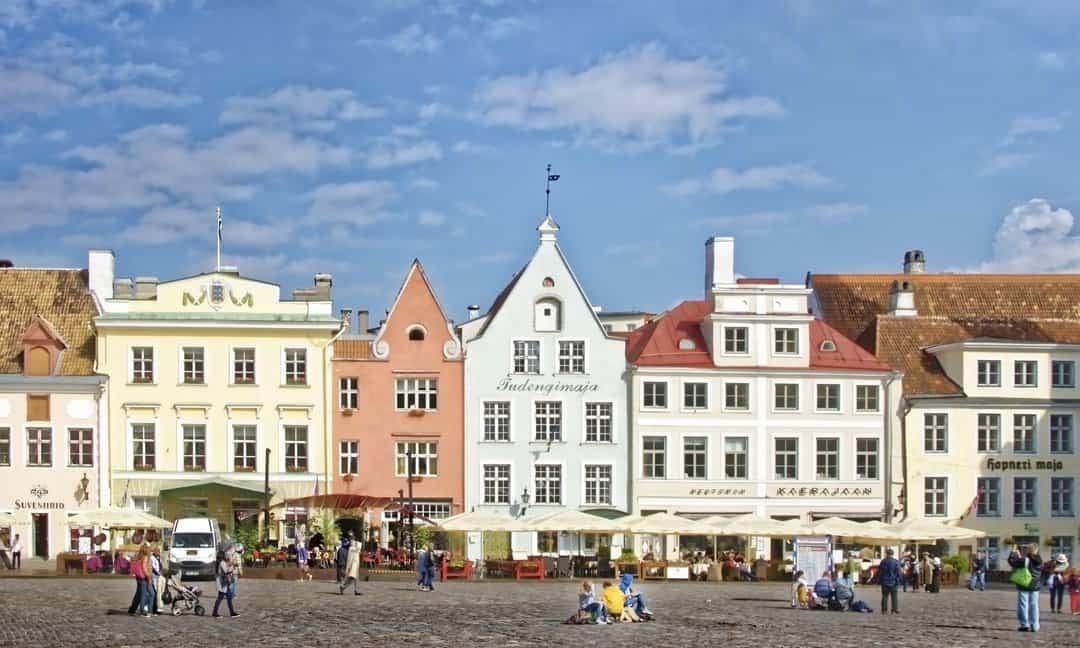 The Medieval town square in Tallinn, Estonia.
