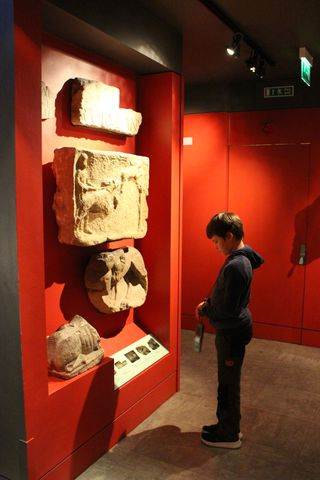 A boy looking at a display of museum objects on a wall.