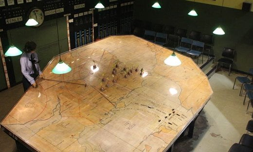 Operations room at the Battle of Britain Bunker in London.