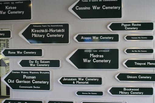 Road signs showing the way to various CWGC cemeteries from around the world.