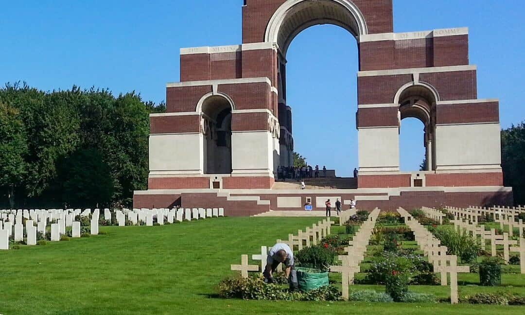 One of the CWGC gardeners working at the Thiepval Memorial to the Missing of the Somme, France.