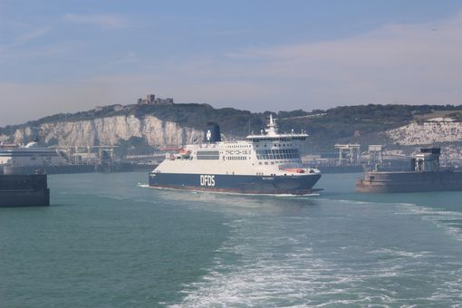 A DFDS ferry leaving Dover port.