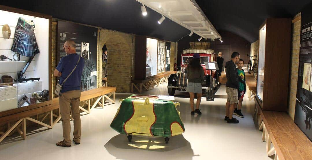 People looking at displays inside the Dynamo Museum in Dunkirk.