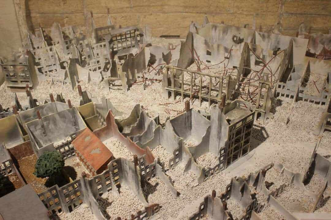 A model of ruined houses.