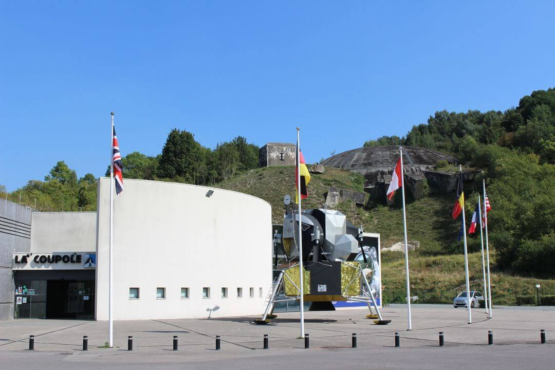 The outside of the visitor centre and the concrete dome at La Coupole.