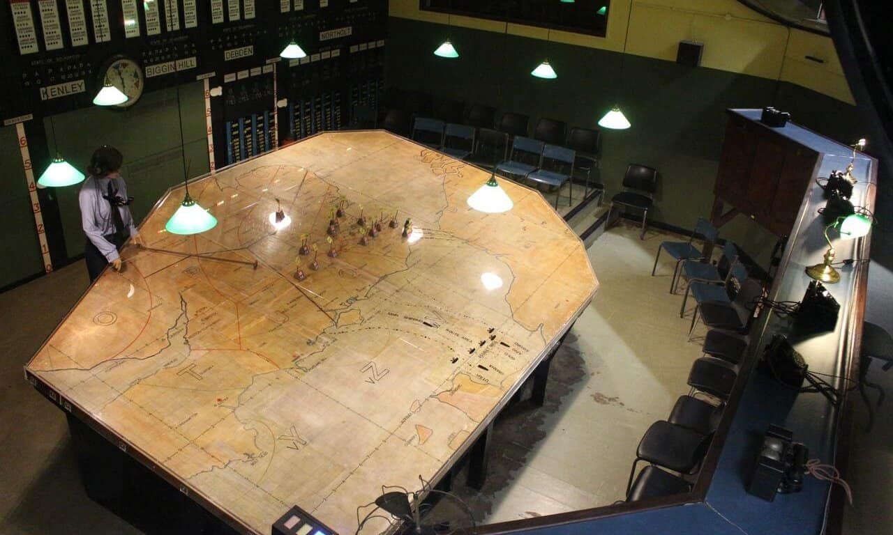 Aerial view of the map and OPerations Room.
