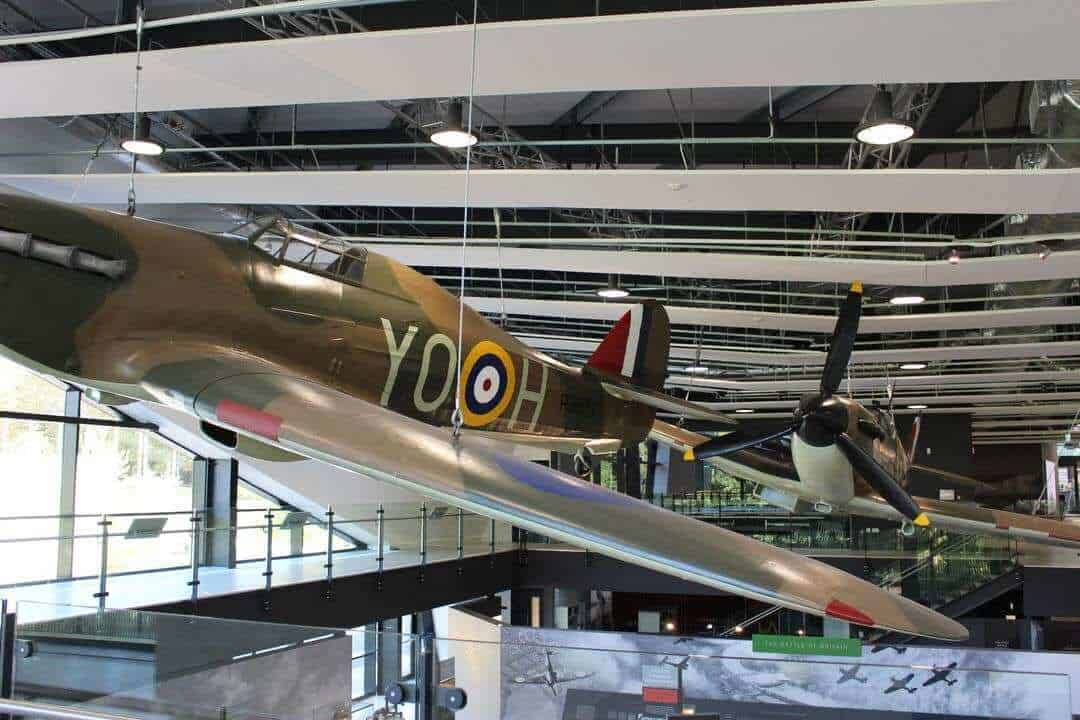 Two replica planes suspended from the ceiling of the museum.