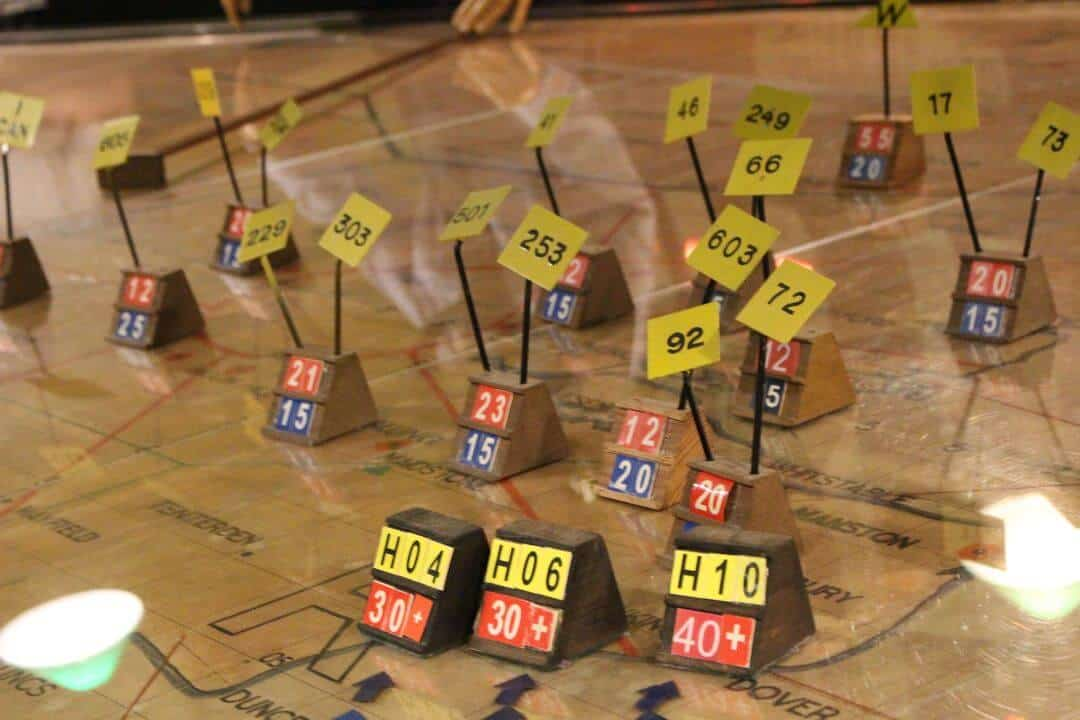 Wooden blocks with numbers on used on the map in the Operations Roomn at the war bunker.