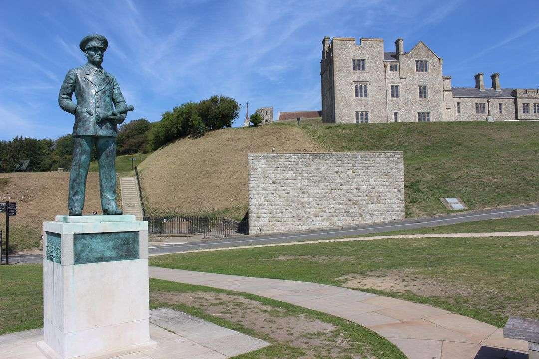 A statue of Admiral Ramsay in front of Dover Castle.