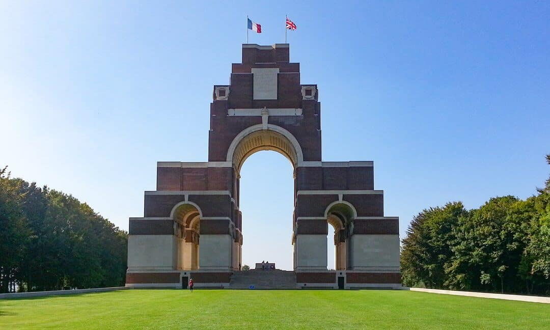 The Thiepval Memorial to the Missing of the Somme from the First World War.
