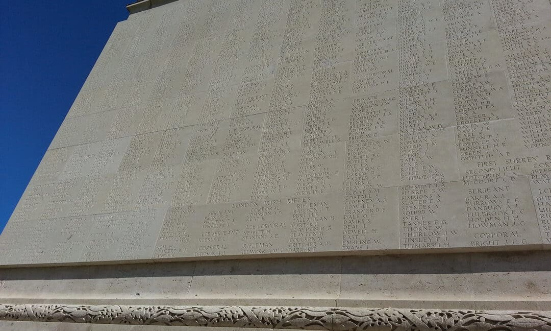 Some of the names inscribed on the Thiepval Memorial.