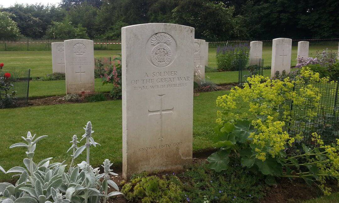 Headstones for unknown Commonwealth soldiers at Thiepval Memorial to the Missing on the Somme, France.