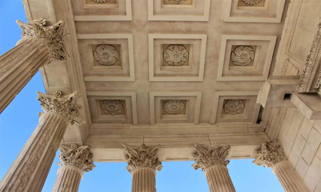 The ceiling of the porch of the Carree Maison temple in Nimes.