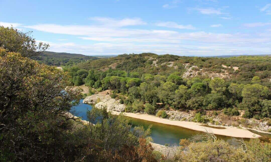 A view of the garrigue landscape by the river Gardon
