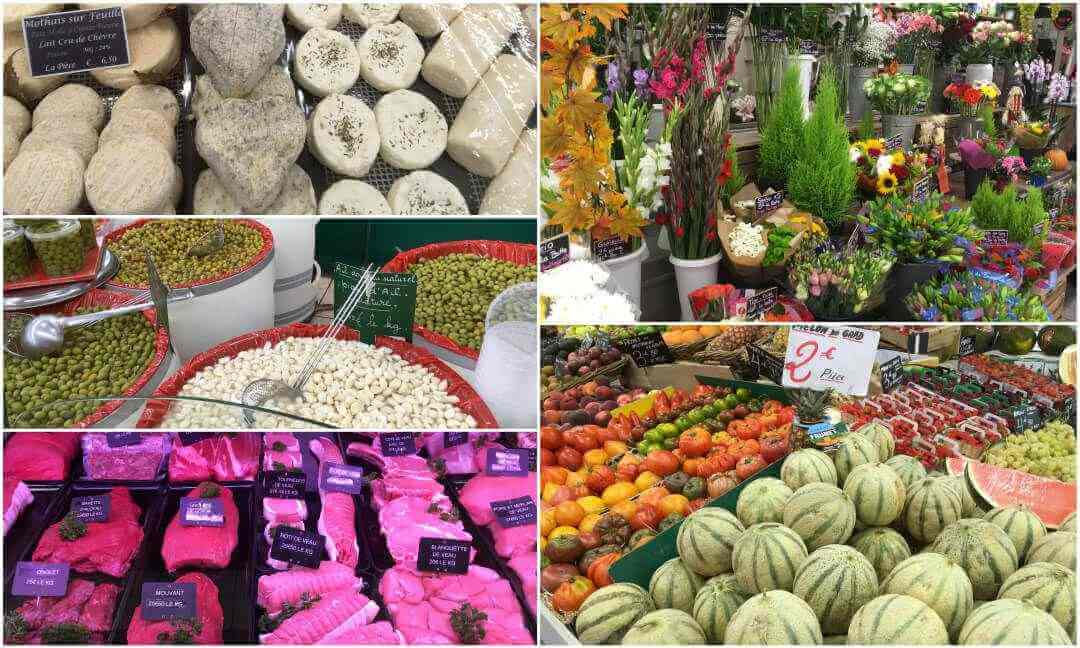 A collage of stalls in the market.