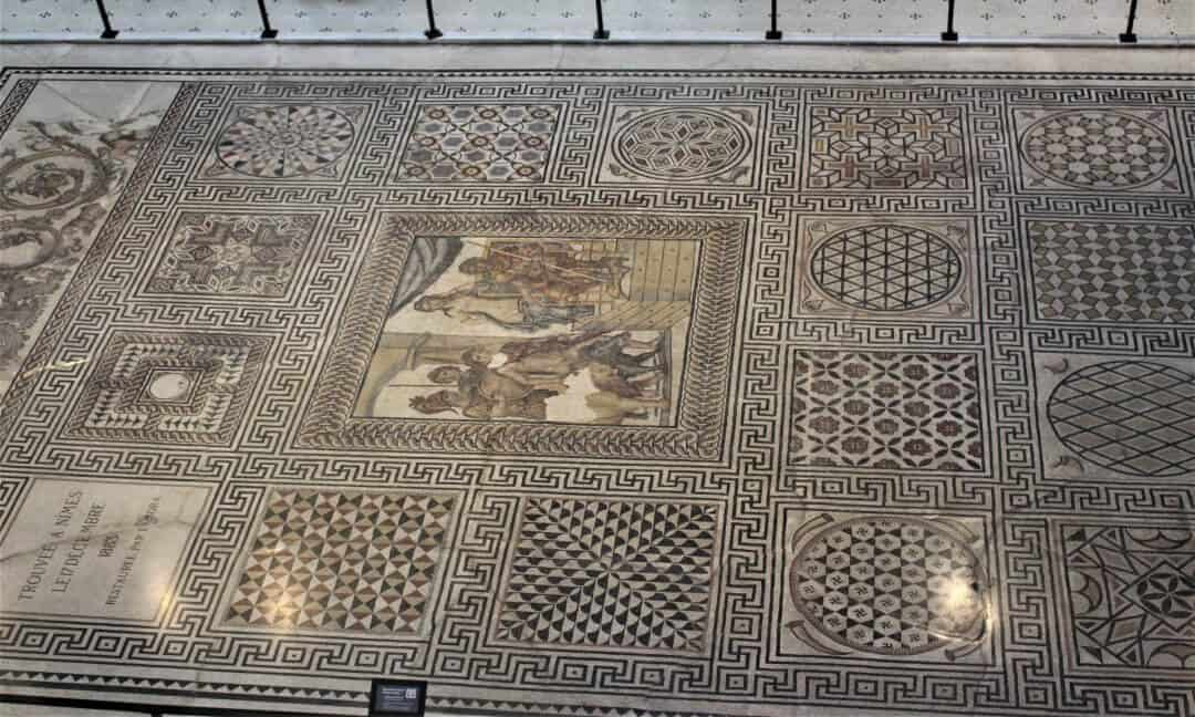 The full size mosaic of The Marriage of Admetus in the Fine Arts Museum in Nimes.