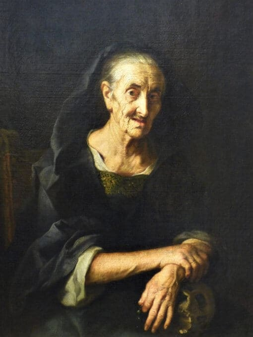 A painting of an old lady dressed in black resting her arms on a skull.