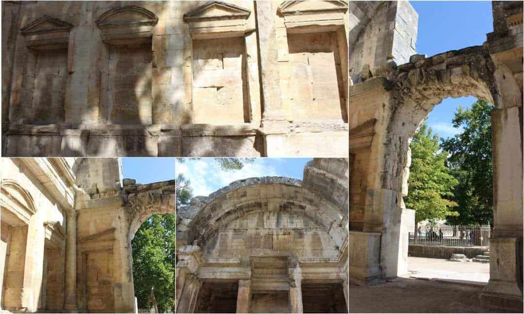 A montage of photos from the Temple of Diana in Nimes.