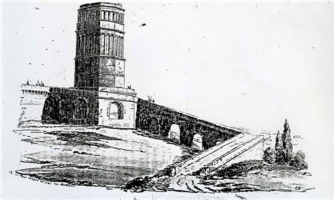 An old sketch of the Tour Magne showing it with an arched ramp.