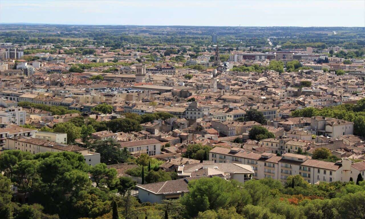 A view of the leafy city of Nimes.
