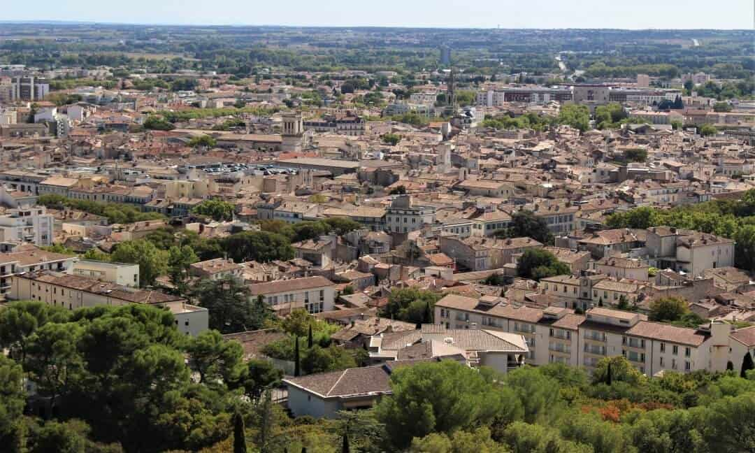 Views over the rooftops of Nimes from the Tour Magne.