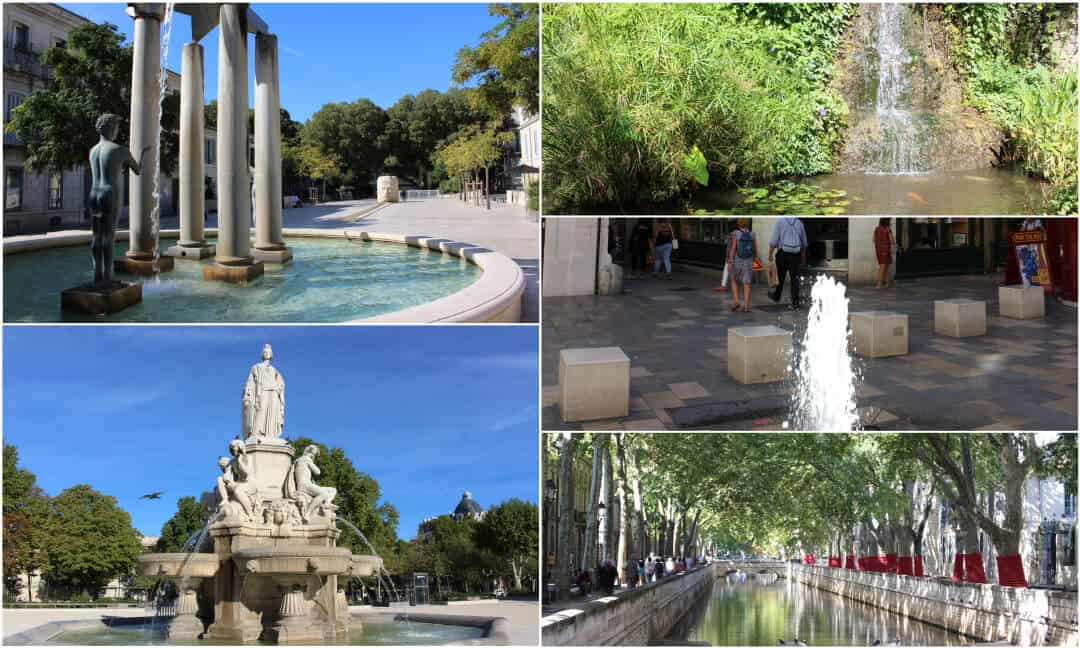 A montage of fountains and water features around the city of Nimes in France.