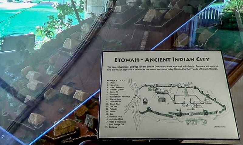 A scale model of the  Etowah Indian Mounds Settlement in the museum.