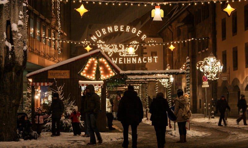 Lights on at the Nuremberg Christmas market.