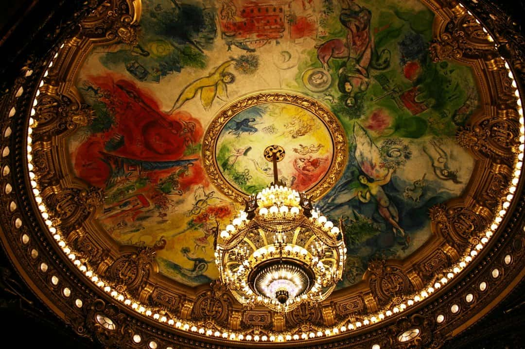 Marc Chagall's painting in the auditorium of the Palais Garnier, Paris.