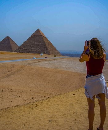 Photographing the pyramids of Giza from one of the best locations.