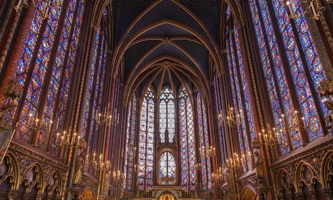 The interior of the upper level at Sainte-Chapelle in Paris.