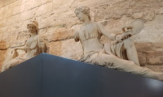 Statues from the Tuileries Palace now in the Galerie du Carrousel entrance to the Louvre.