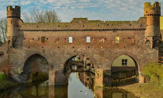 The Medieval city walls of Zutphen, northern Netherlands.