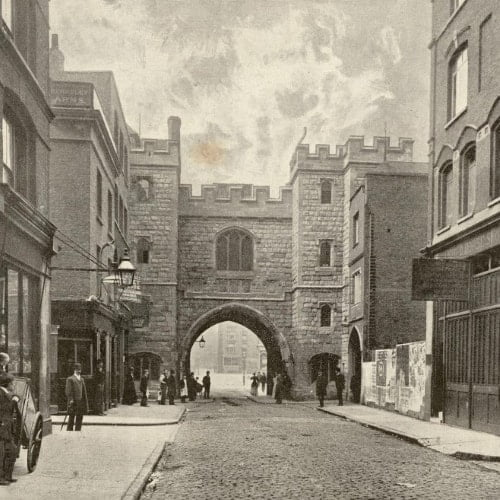 An old illustration of St Johns Gate in London.