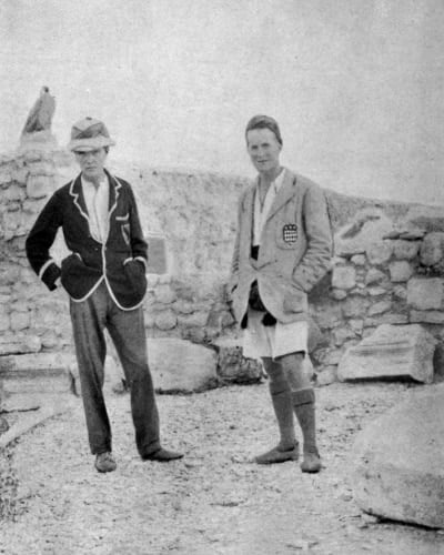 A black and white photo of Lawrence on an archaeological dig.