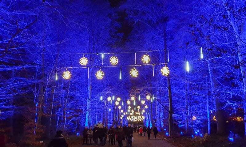 the Snowfalls installation in the Christmas Gardens Berlin.