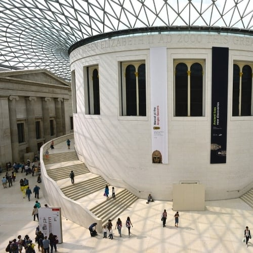 Inside the British Museum showing the glaass roof and staircase.
