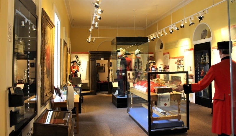 Inside the Royal Chelsea Hospital Museum showing all of the displays.