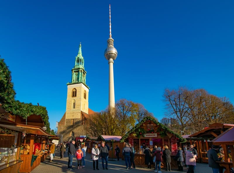 Christmas market in the shadow of Berlin's iconic TV Tower.
