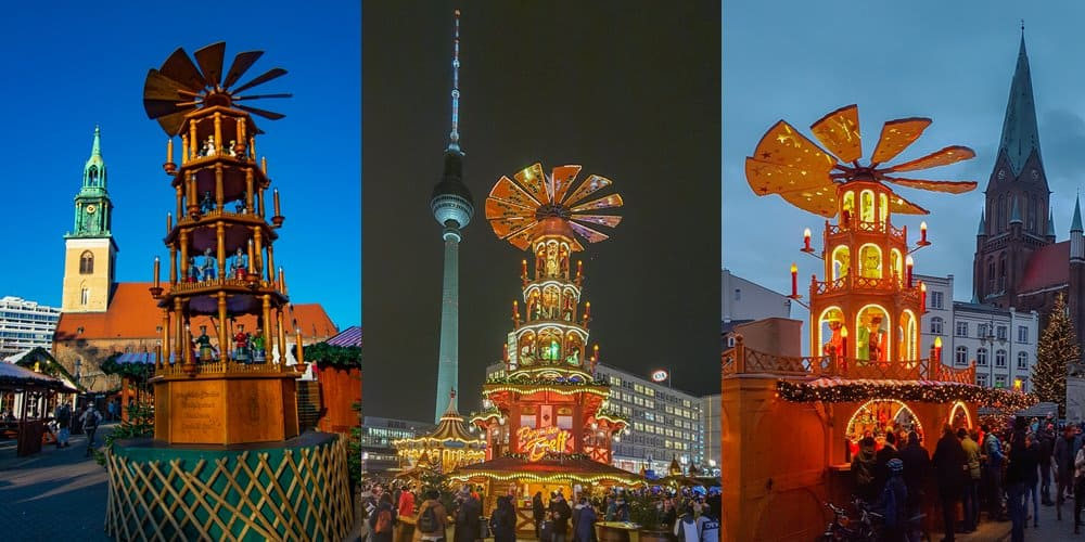 Christmas pyramids at three different Christmas markets in Germany.