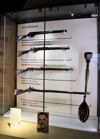 A display showing the lengths of gun barrels in the National Army Museum.