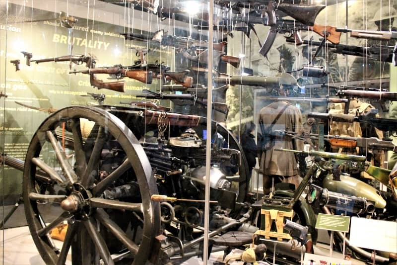 A display of guns in the National Army Museum.