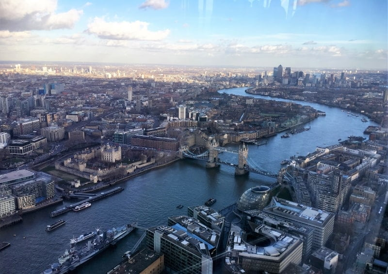 A view from the Shard over London and the Thames.