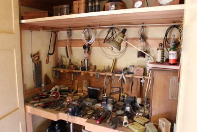 Inside William Morris' tool cupboard at Nuffield Place.