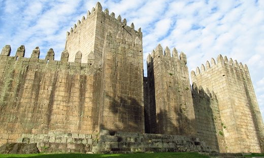 The striking Gothic castle of Guimarães in Portugal.