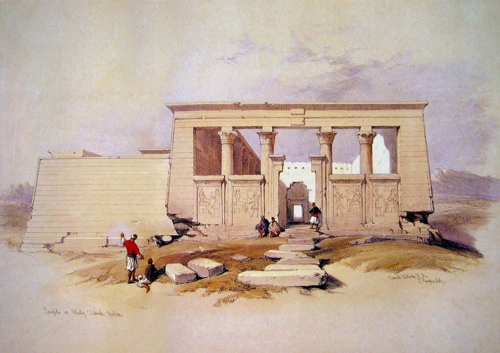 Painting of the temple of Debod by David Robert in 1839.