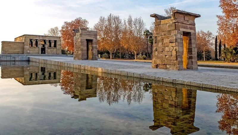 An autumn shot of the Temple of Debod.
