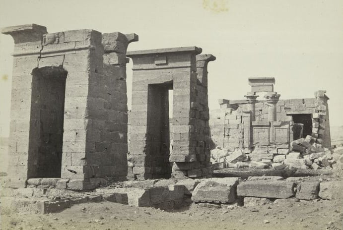 Photograph of the Temple of Debod taken around 1862 by Francis Frith.